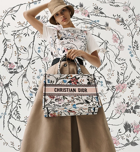 Small Multicolor Rosa Mutabilis Embroidered Dior Book Tote