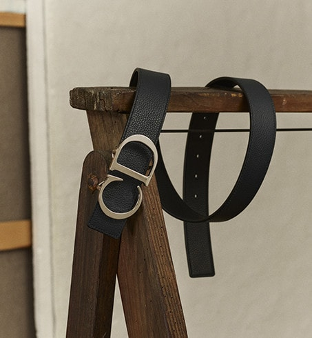 Lanière de ceinture réversible Cuir de veau grainé noir et bleu marine, 35 mm