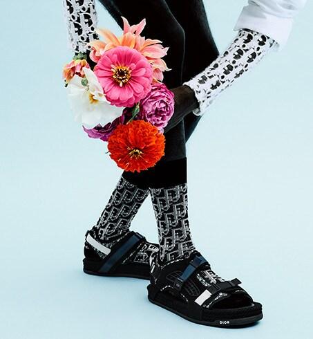 Dior Oblique Socks Black, Gray and Brown Stretch Cotton Jacquard