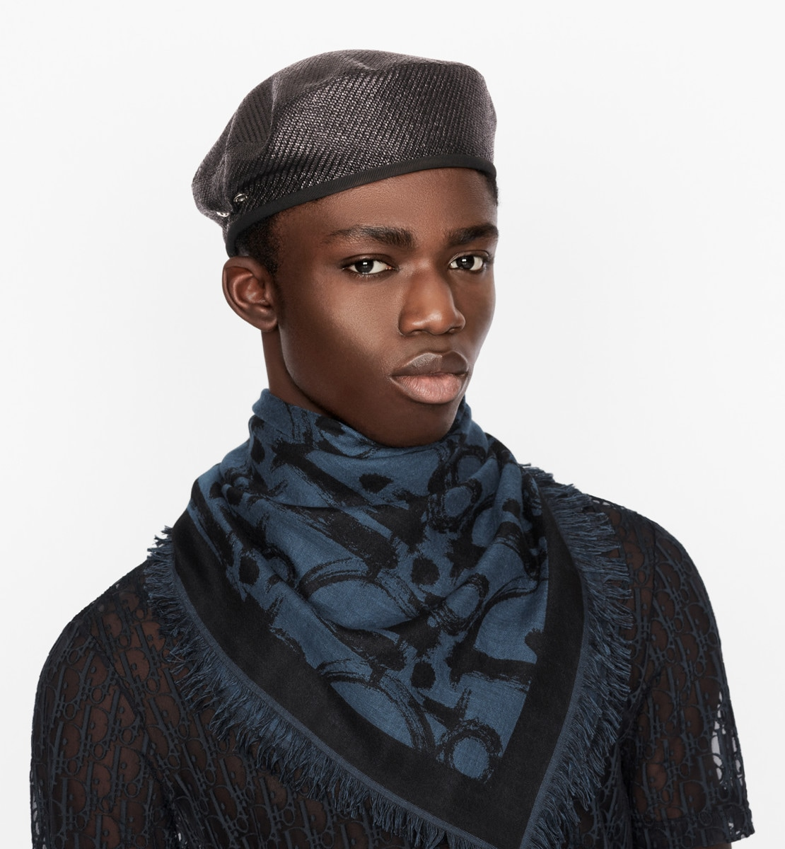 Étole Dior Oblique Laine et soie bleue et noires